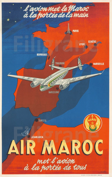 AIR MAROC AVION Reoa-POSTER/REPRODUCTION  d1 AFFICHE VINTAGE