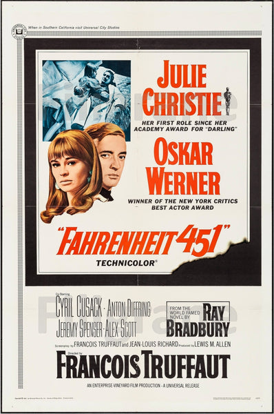 FAHRENHEIT 451 FILM Rgro-POSTER/REPRODUCTION d1 AFFICHE VINTAGE