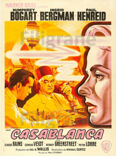CASABLANCA  FILM Rszn POSTER/REPRODUCTION  d1 AFFICHE VINTAGE