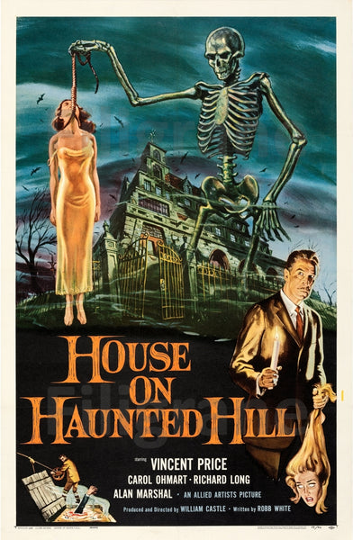 CINéMA HOUSE ON HAUNTED HILL Rvfl-POSTER/REPRODUCTION d1 AFFICHE VINTAGE
