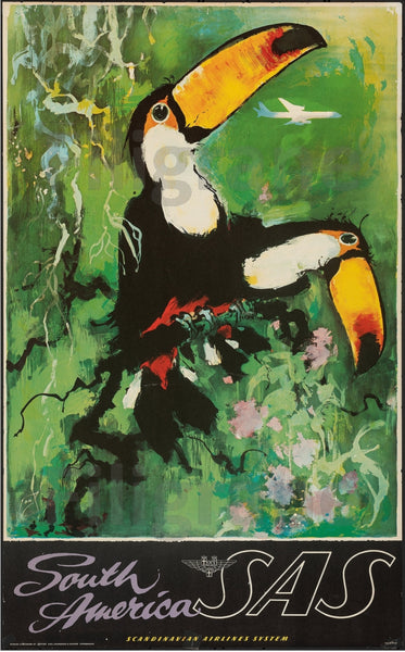 AIRLINES SOUTH AMERICAN SAS TOUCAN Rcaw-POSTER/REPRODUCTION d1 AFFICHE VINTAGE
