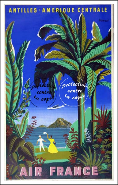 AIR France © POSTER/AFFICHE 50x70cm : 1948  ANTILLES