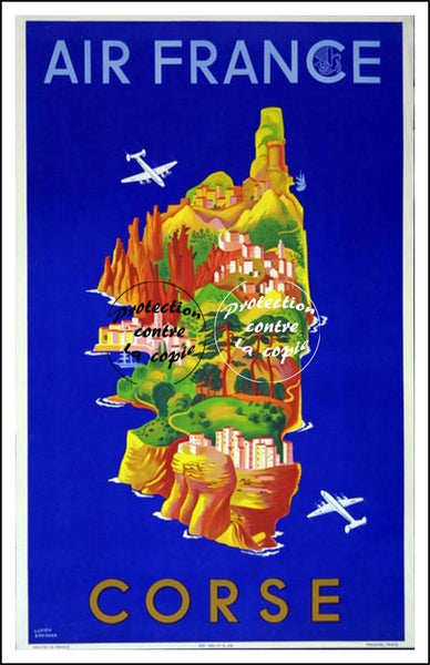 AIR France © POSTER/AFFICHE 50x70cm : 1949  CORSE