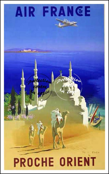 "AIR France © POSTER/AFFICHE 50x70cm : : ""NEAR ORIENT"" (Rf045)"