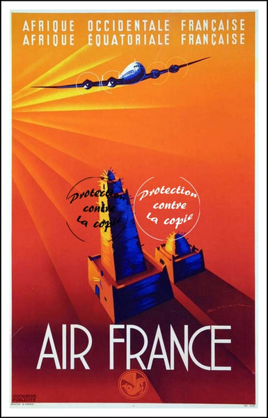 "AIR France © POSTER/AFFICHE 50x70cm : ""FRENCH WEST AFRICA"""