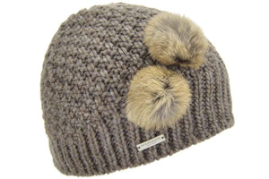 Seeberger Beanie with rabbit fur pompoms