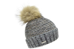 Seeberger Turn Up Beanie with Raccoon PomPom