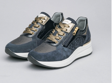 Load image into Gallery viewer, NeroGiardini Navy Suede and Glitter Sneaker