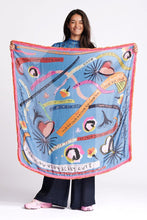 Load image into Gallery viewer, Pom colourful dreams blue scarf