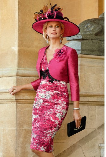 Condici pink chiffon pleated dress and silk jacket