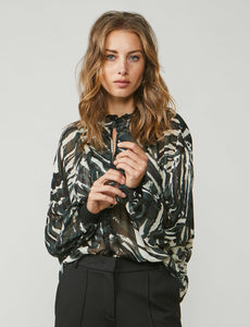 Summum Olive print blouse