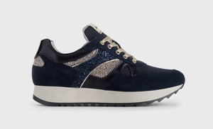 Navy and glitter suede trainer
