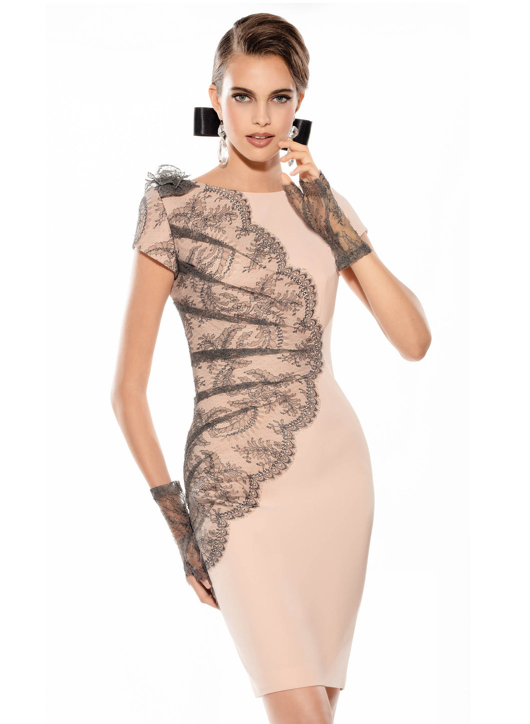 Teresa Ripoll Nude Dress with Grey Lace