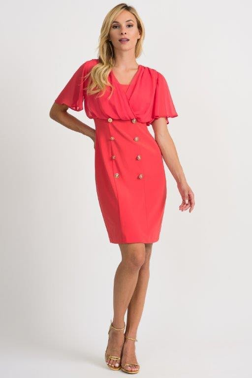 Ribkoff red coral button dress
