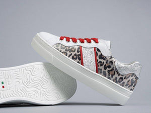 Nero Giardini red and cheetah trainer