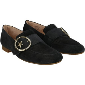 Stone suede loafer with gold buckle