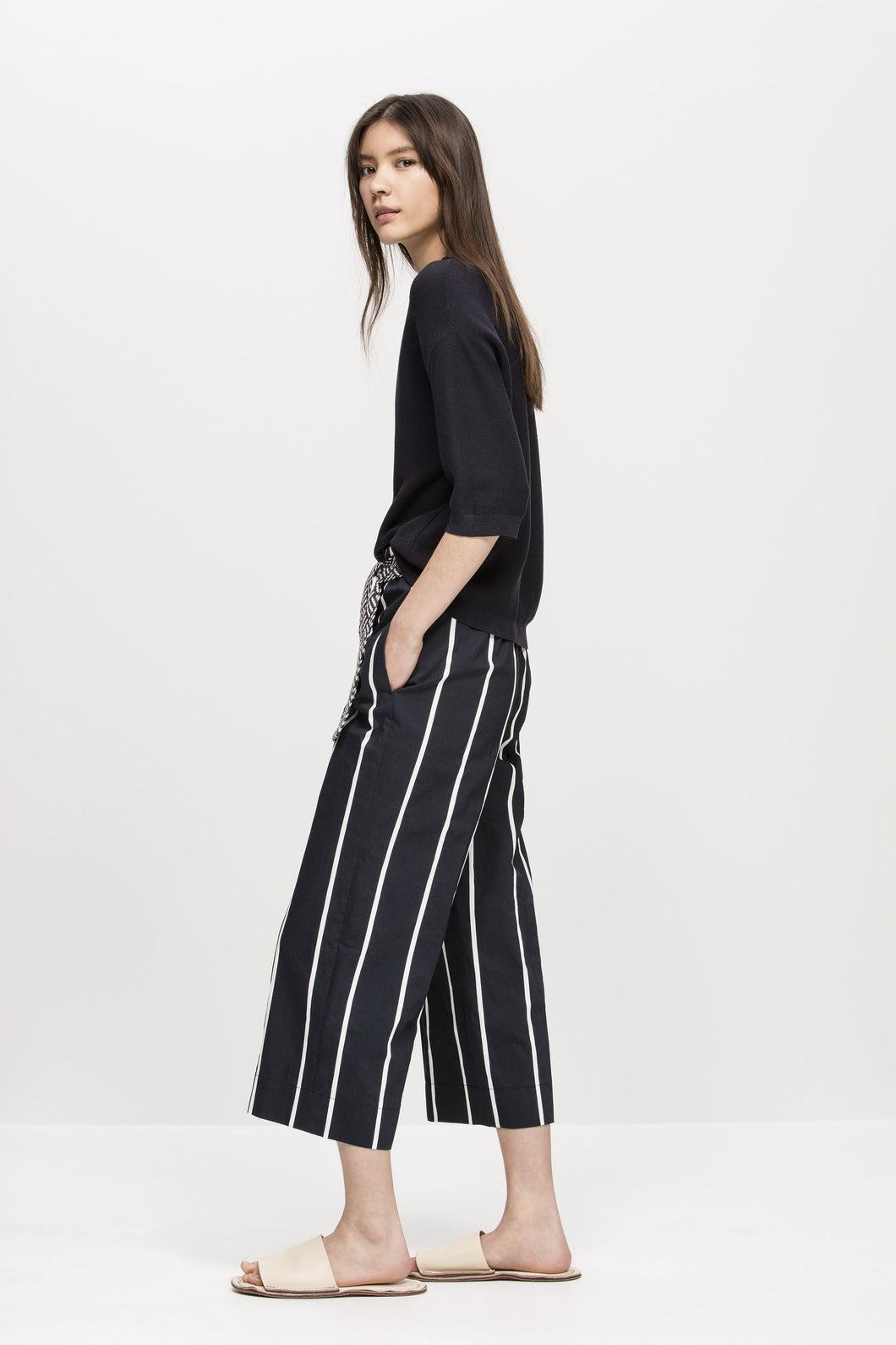 Navy and white striped pants