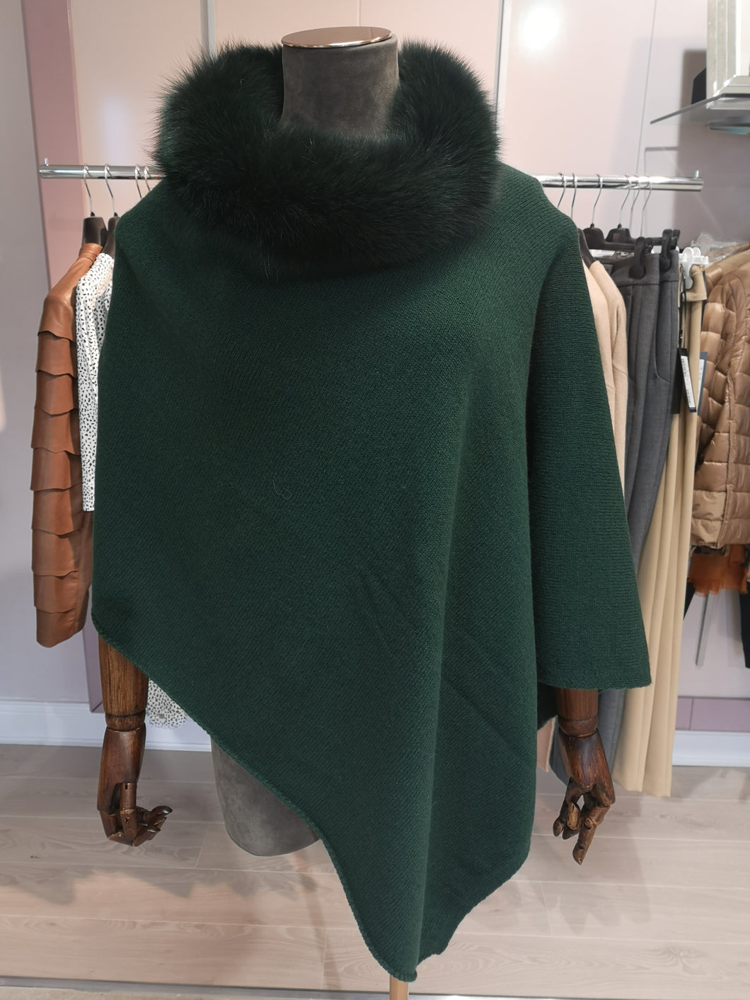 Lea Clement Wool Cape in Bottle Green