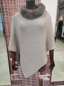 Lea Clement Wool Cape in Stone