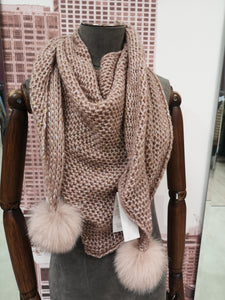 Lea Clement Wool Scarf in Nude/Pink