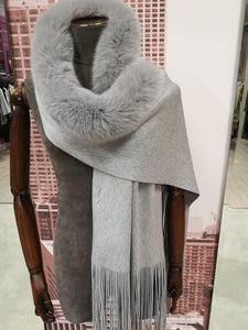 Lea Clement Wool Scarf in Grey