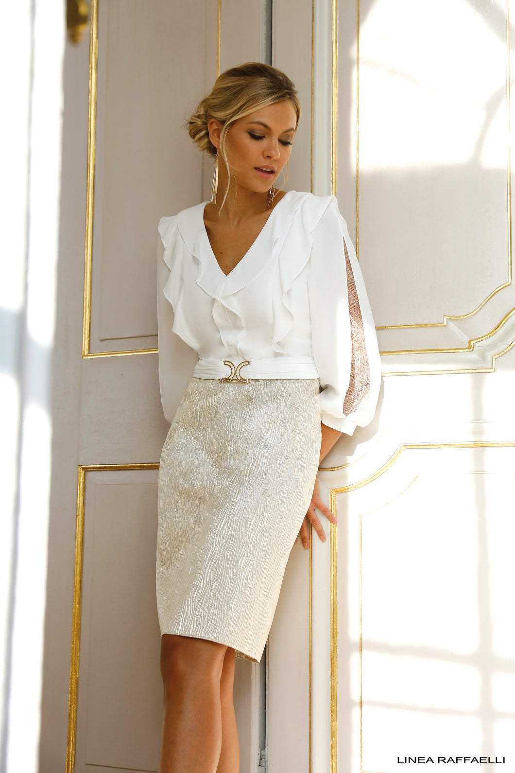Linea Rafffaelli Cream/Gold Dress