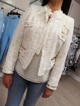 Load image into Gallery viewer, Gold and cream tweed jacket