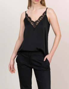 Satin top with lace black