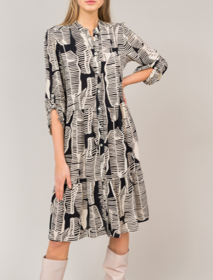 Leaves printed black and white dress