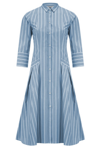 Pin stripe blue cotton dress