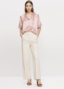 Silk-satin half sleeved blouse