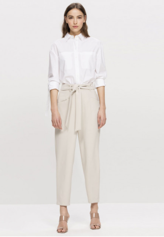 Tapered trousers with tie belt