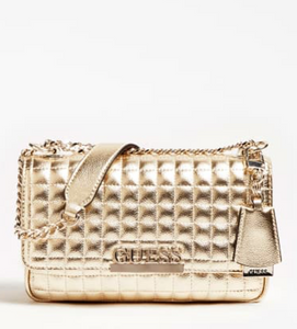 Guess Matrix laminated gold quilted crossbody
