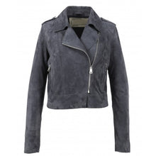 Load image into Gallery viewer, OAKWOOD ZULINA PETROL BLUE - GENUINE GOAT SUEDE CROPPED BIKER JACKET