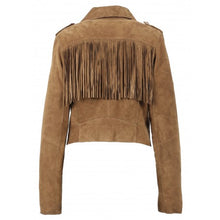 Load image into Gallery viewer, OAKWOOD ZUNA COGNAC - GENUINE GOAT SUEDE CROPPED BIKER JACKET WITH FRINGES