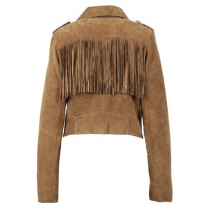 OAKWOOD ZUNA COGNAC - GENUINE GOAT SUEDE CROPPED BIKER JACKET WITH FRINGES