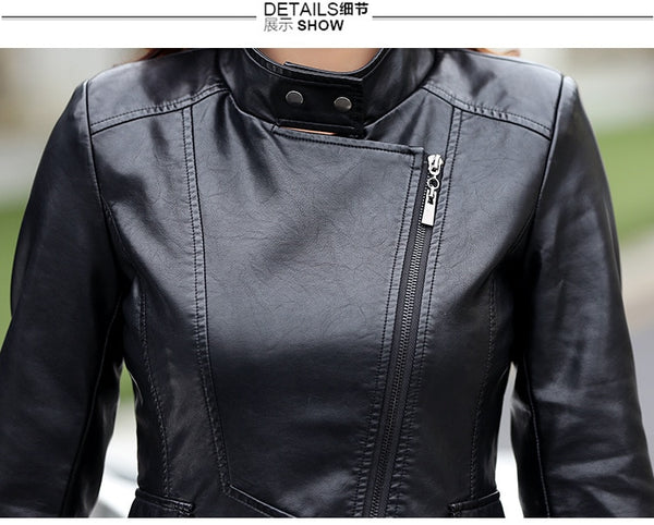 M-5XL Leather Coat Jacket Women Fashion Slim Patchwork
