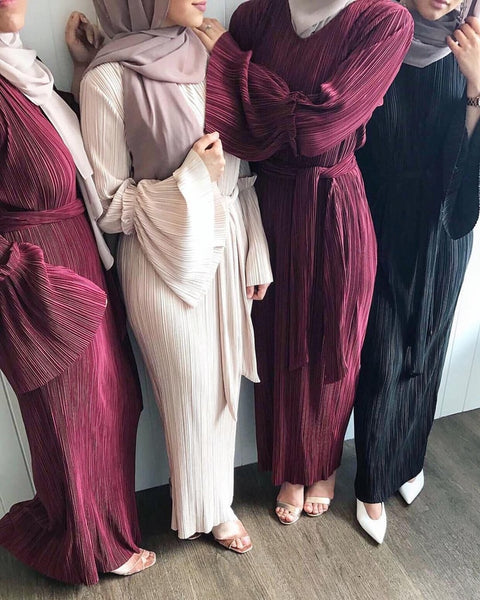 Fashion Pleated muslim dress Including the belt