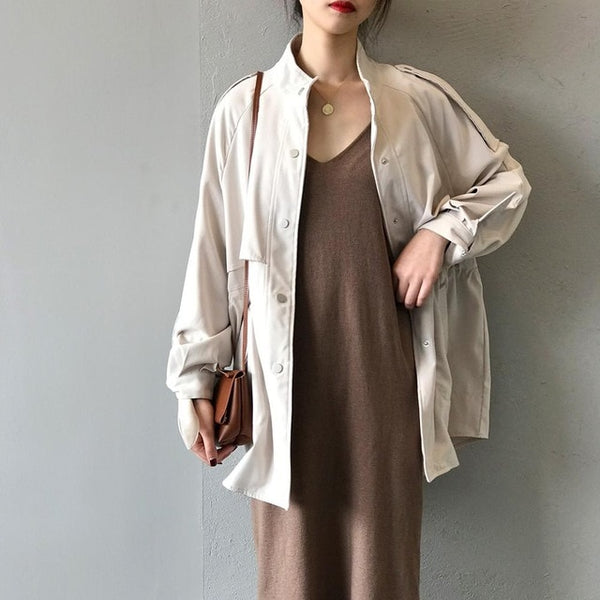 Trench coat Long Trench Spring coat women Casual Slim Trench coat