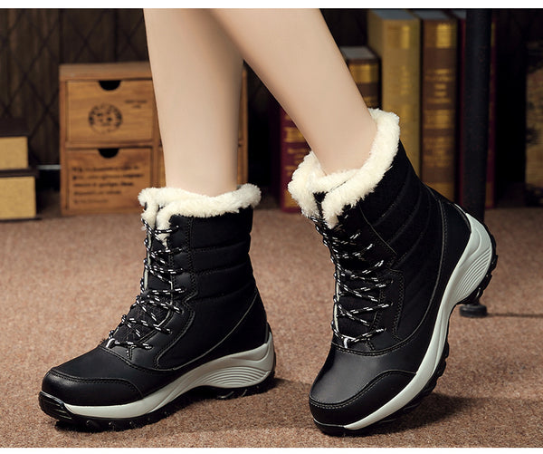 STS BRAND Women Boots Waterproof Winter Shoes Female Snow Boots Platform Mujer Botas Ankle Winter Boot With Thick Fur Girl Boot