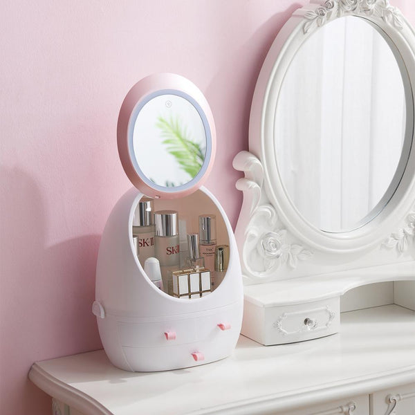 Cosmetic storage box LED light mirror drawer type portable desktop skin care products storage dust-proof cosmetic case