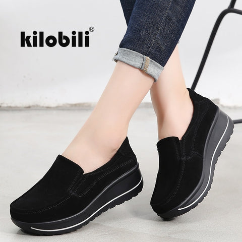 kilobili 2020 Autumn women flats shoes platform sneakers Ladies suede leather casual shoes slip on flat heels creepers moccasins