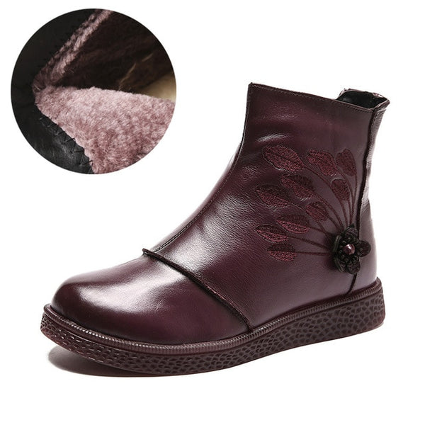 Women Flat Platform Shoes Autumn Winter Shoes Genuine Leather 2020