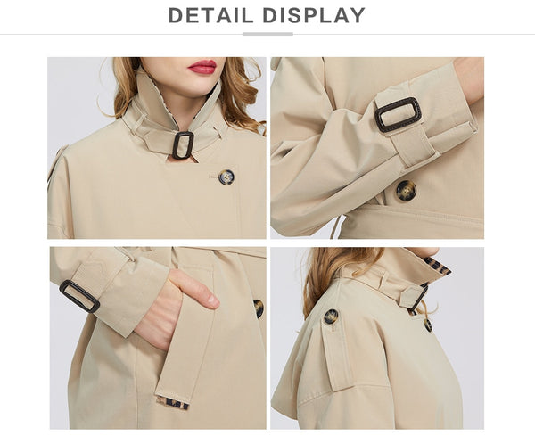 2020 Spring New Collection Women's Windbreaker Free Fashion Casual High Quality Windbreaker Has Belt Button Down Cloak