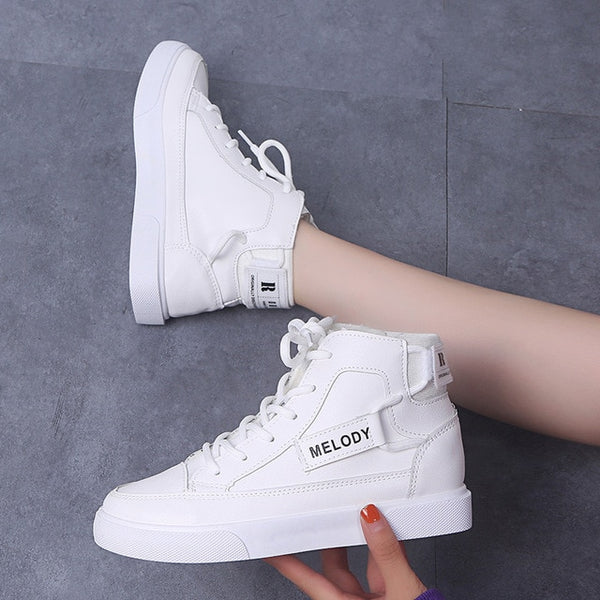 High Top Sneakers  Females Designer Women's Casual Shoes Non-Leather Winter Cold Protection  Add Cotton Outdoor Leisure Trainers
