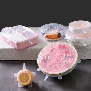 6pcs/set Silicone Stretch Lids Reusable Food Wrap Covers Keeping Fresh Seal Cover suit for Cup Bowls Fridge Microwave Cover