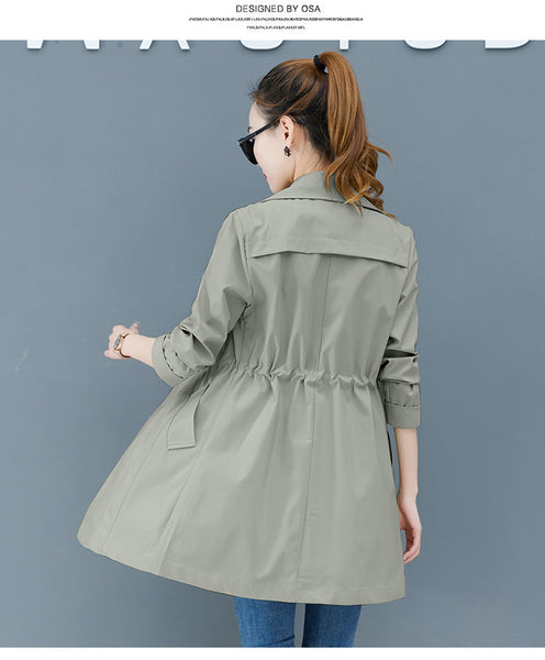 Casual Windbreaker Female 2020 new Spring Autumn fashion Loose Waist Thin Long Trench Coats for Women Overcoats b282