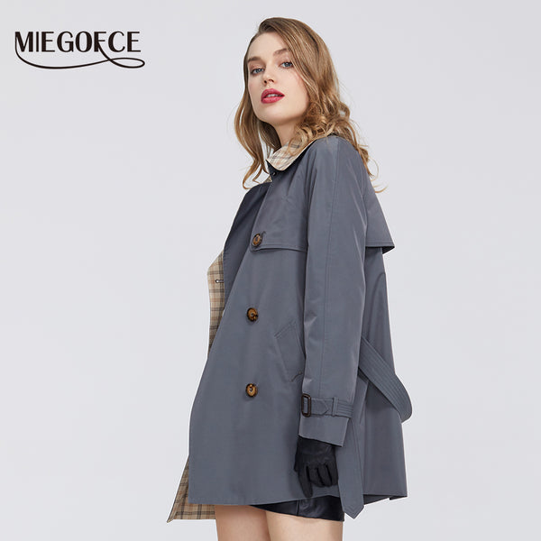 2020 Women's Windbreaker Casual High Quality Windbreaker Has Belt Button Down Cloak Office Style