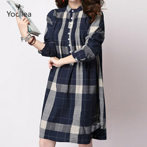 New fashion Women Shirt Dress Lady Loose Vintage Blouse Tops female Long Sleeve Casual Beach Dress Vestidos