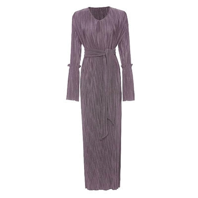Fashion Pleated muslim dress Including the belt 2020 فستان بناتي